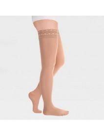 Чулки с ажурной резинкой на силиконовой основе с закрытым носком ID-301