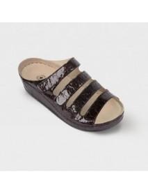 Обувь ортопедическая малосложная(коричневый лак,крокодил) LM-503.023